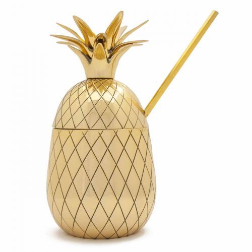 Dekoratives Cocktailglas Ananas mit Strohhalm