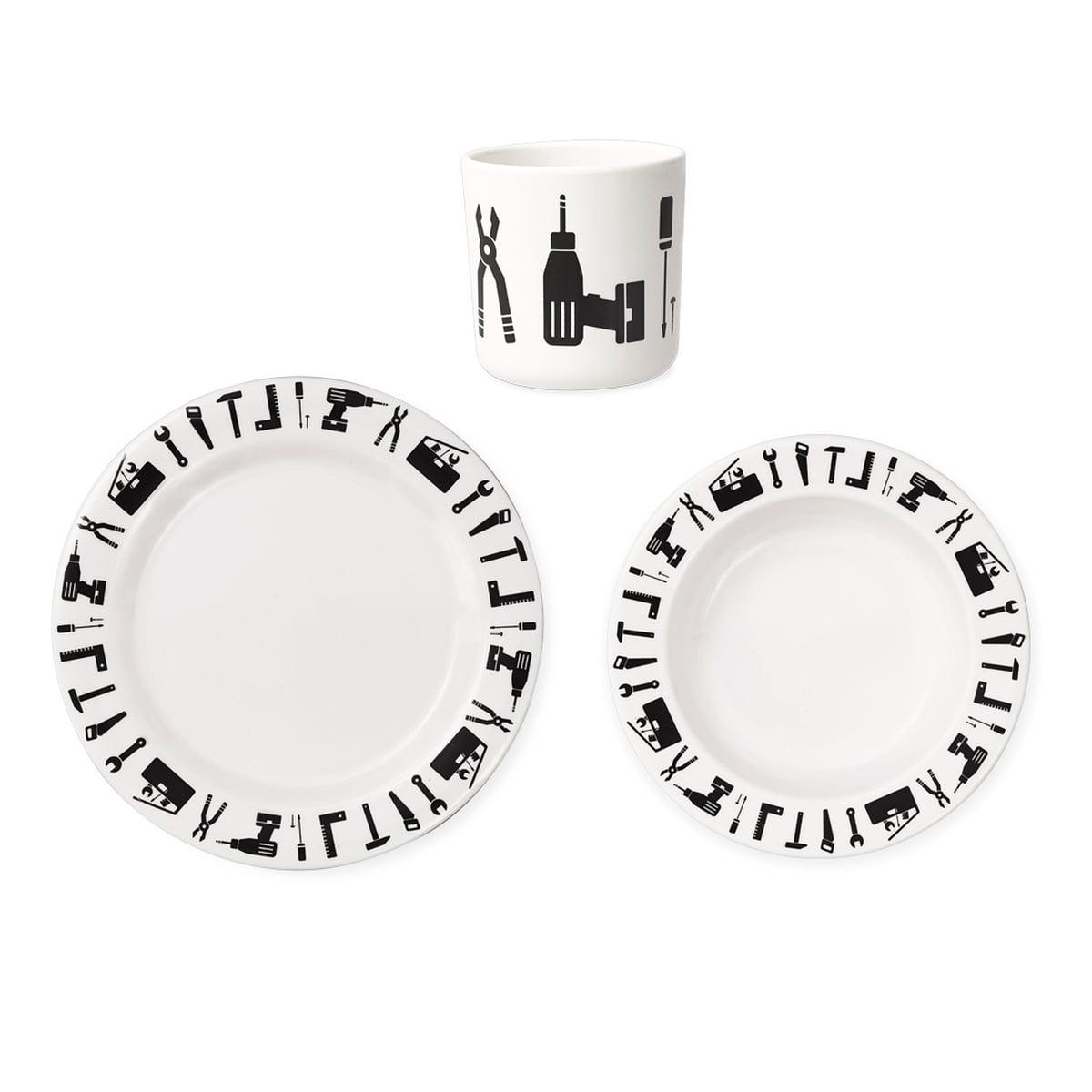 design letters tool school geschirr set 3 tlg schwarz. Black Bedroom Furniture Sets. Home Design Ideas