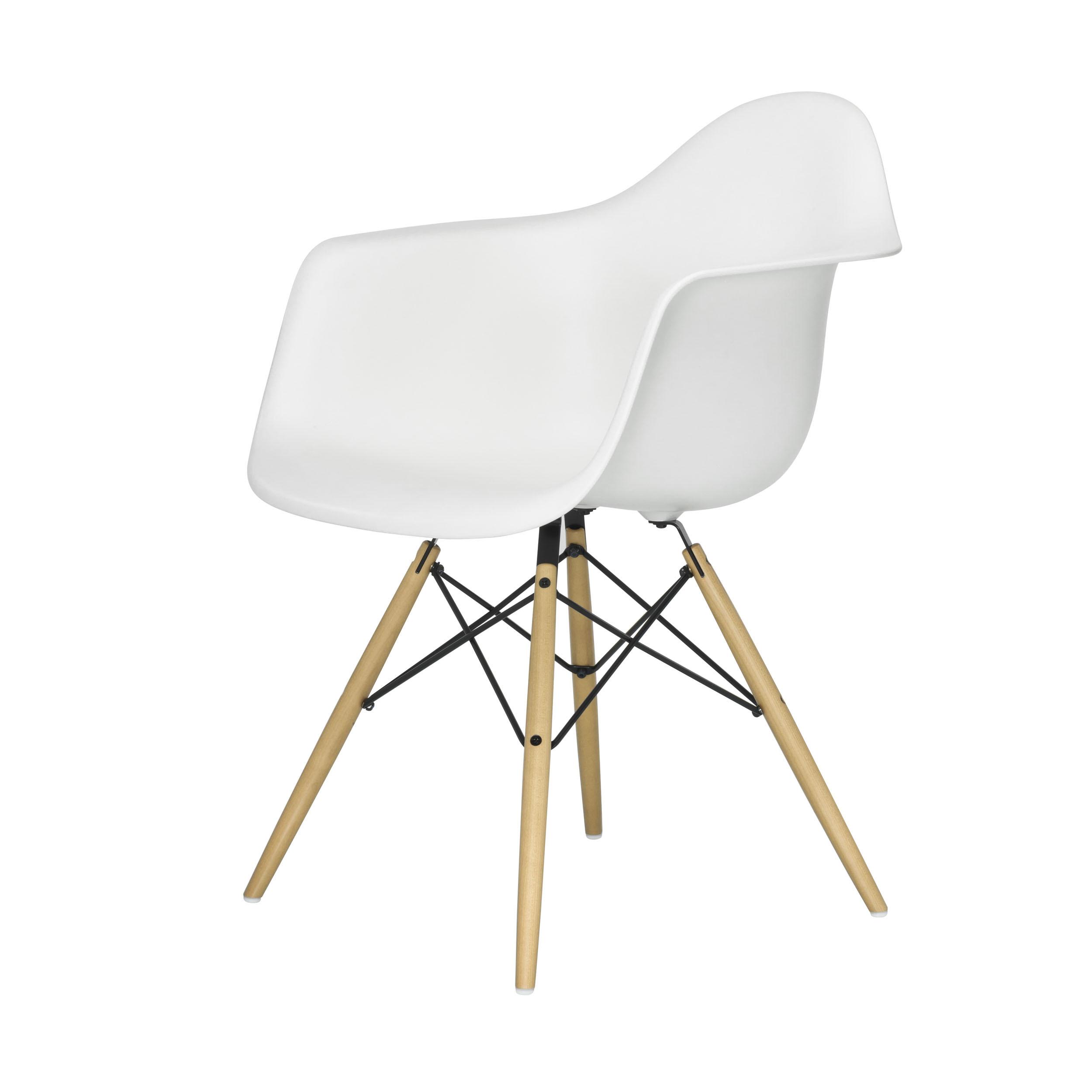 eames plastic armchair stuhl daw mit kunststoffgleitern weiss ahorn neue ma e. Black Bedroom Furniture Sets. Home Design Ideas