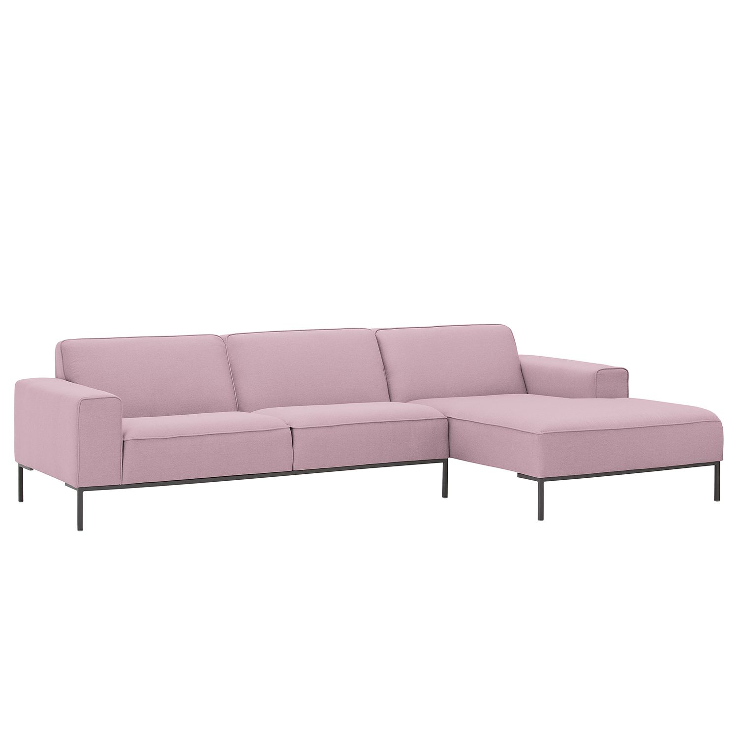 ecksofa ampio ii webstoff longchair ottomane davorstehend rechts grau stoff floreana rosa. Black Bedroom Furniture Sets. Home Design Ideas