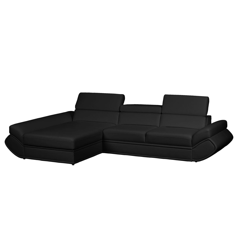ecksofa black rock ii mit schlaffunktion kunstleder longchair davorstehend links schwarz. Black Bedroom Furniture Sets. Home Design Ideas