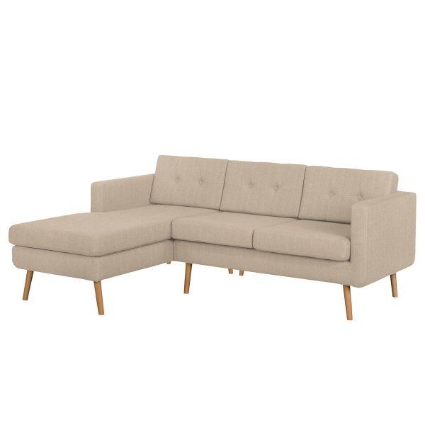 Ecksofa Croom Webstoff - Longchair davorstehend links - Ohne Hocker - Cappuccino