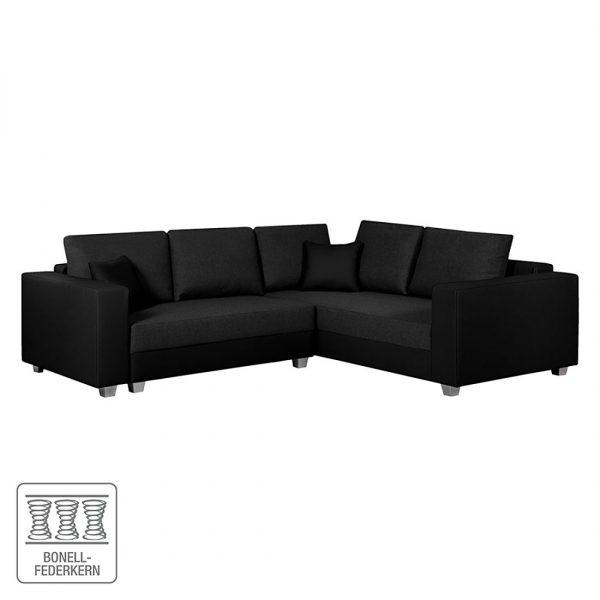 Ecksofa Dublin I (mit Schlaffunktion) Kunstleder/Strukturstoff - Schwarz - 254 cm