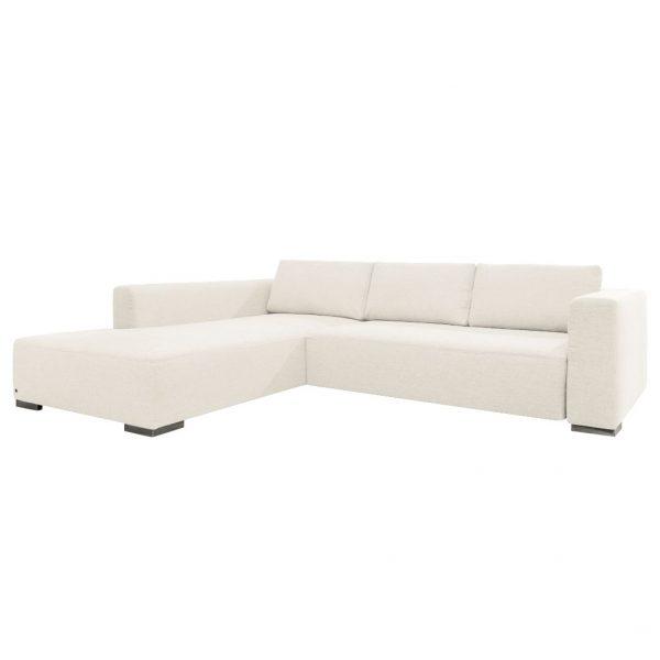 Ecksofa Heaven Colors Style M Webstoff - Longchair/Ottomane davorstehend links - Mit Schlaffunktion - Stoff TCU0 pure white