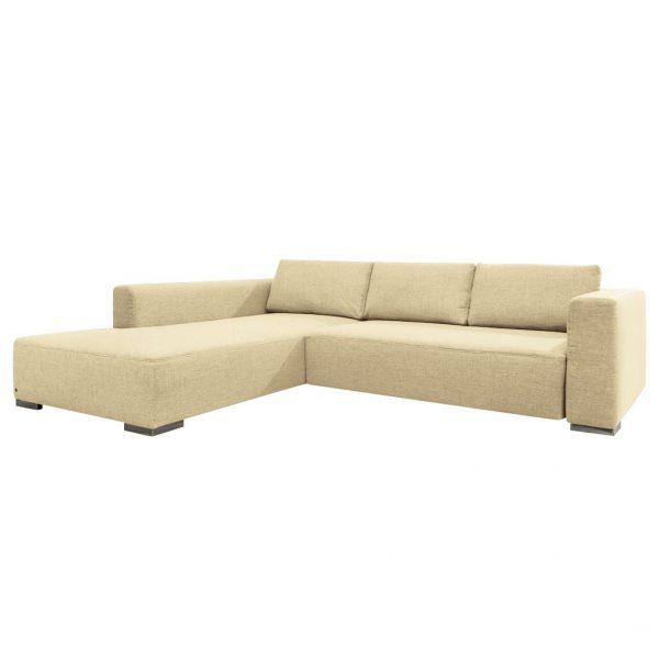 Ecksofa Heaven Colors Style M Webstoff - Longchair/Ottomane davorstehend links - Mit Schlaffunktion - Stoff TCU1 warm beige