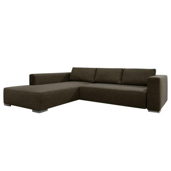 Ecksofa Heaven Colors Style M Webstoff - Longchair/Ottomane davorstehend links - Mit Schlaffunktion - Stoff TCU4 vintage brown