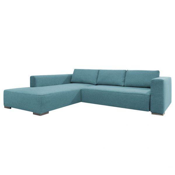 Ecksofa Heaven Colors Style M Webstoff - Longchair/Ottomane davorstehend links - Mit Schlaffunktion - Stoff TCU6 fresh blue