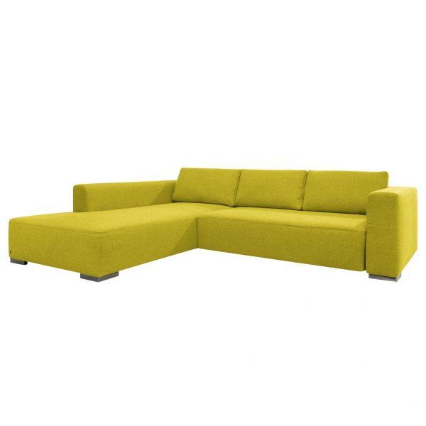 Ecksofa Heaven Colors Style M Webstoff - Longchair/Ottomane davorstehend links - Ohne Schlaffunktion - Stoff TCU5 cool lemon