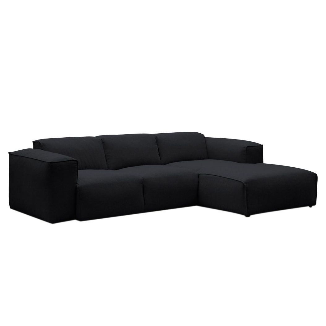 ecksofa hudson iii webstoff longchair ottomane davorstehend rechts stoff saia anthrazit. Black Bedroom Furniture Sets. Home Design Ideas