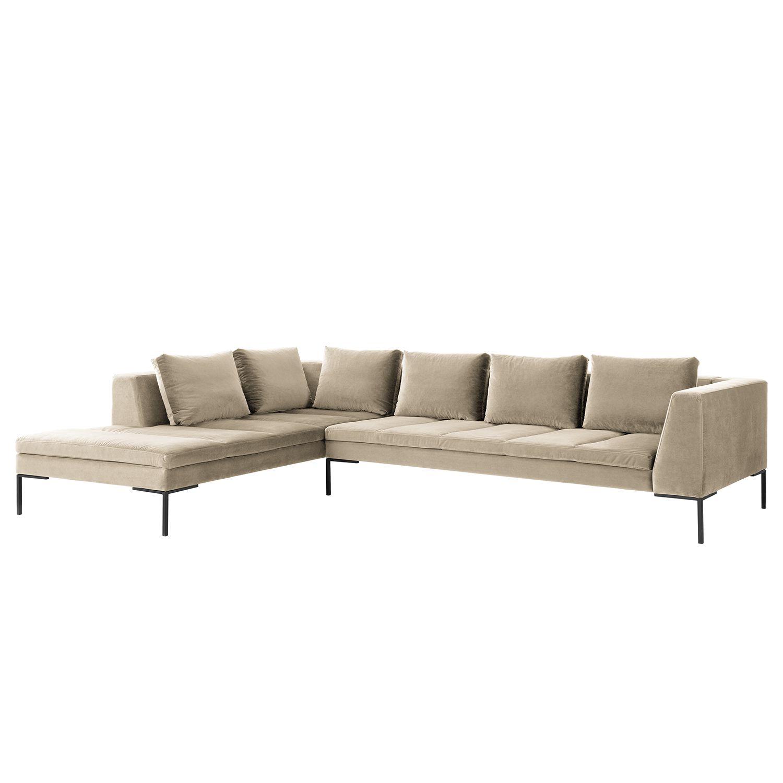 ecksofa madison samt ottomane davorstehend links 319 cm stoff shyla beige studio. Black Bedroom Furniture Sets. Home Design Ideas