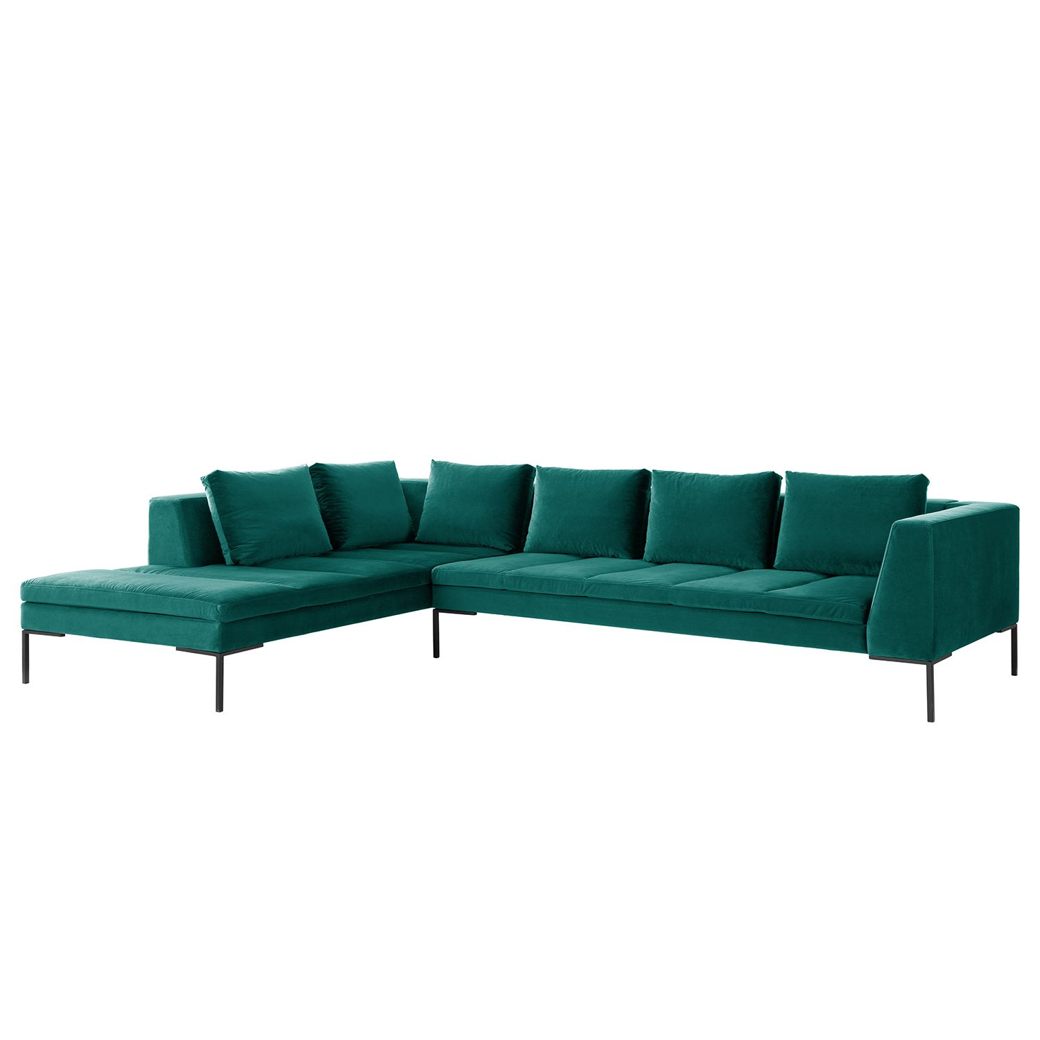 Ecksofa madison samt ottomane davorstehend links 319 for Sofa petrol samt