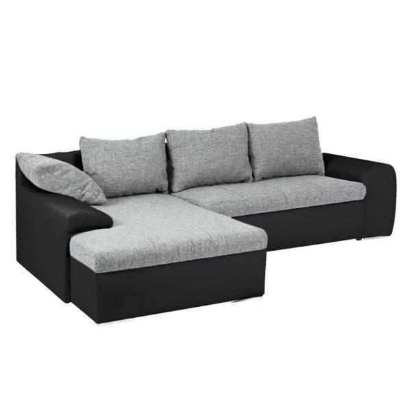 Ecksofa Navona II (mit Schlaffunktion) Kunstleder / Webstoff - Longchair/Ottomane davorstehend links - Schwarz / Grau