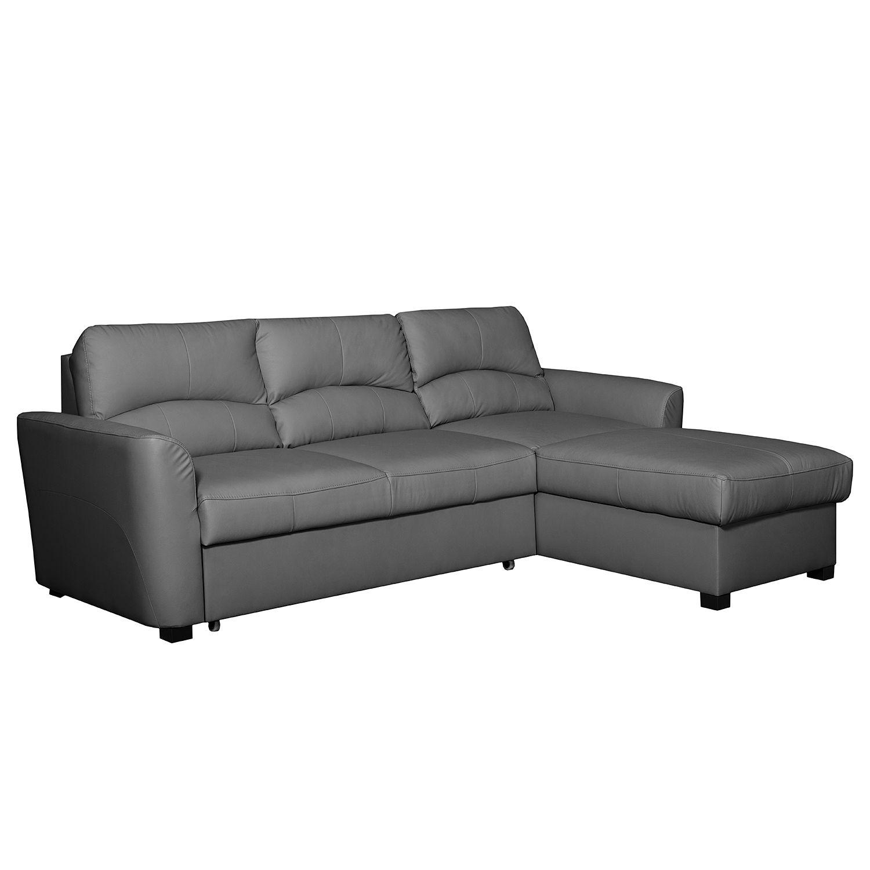 ecksofa parilla mit schlaffunktion kunstleder longchair davorstehend rechts grau. Black Bedroom Furniture Sets. Home Design Ideas