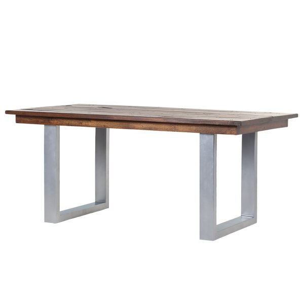 Esstisch Camibar II - Altholz massiv / Metall - Dunkelbraun / Silber
