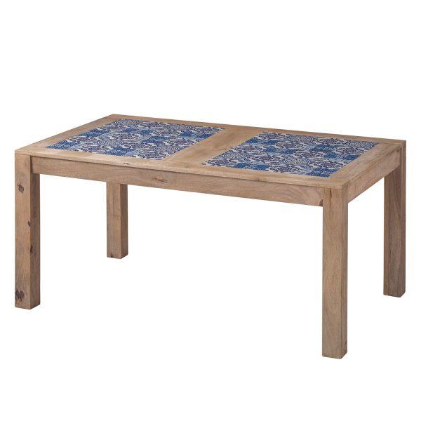 Esstisch Ibiza - Mango massiv / Keramik - Mango / Blau - 160 x 95 cm