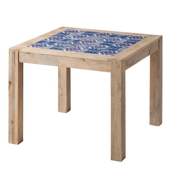 Esstisch Ibiza - Mango massiv / Keramik - Mango / Blau - 95 x 95 cm