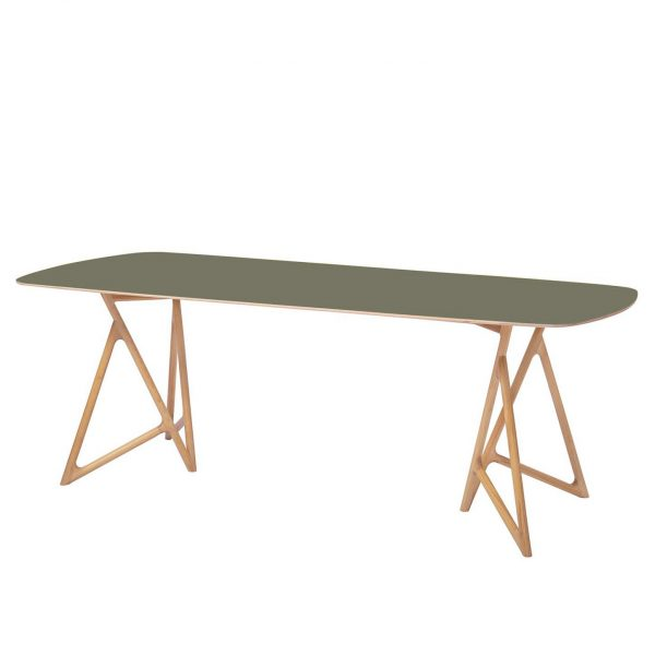 Esstisch Koza - Eiche massiv / Linoleum - Olivgrün / Eiche - 180 x 90 cm