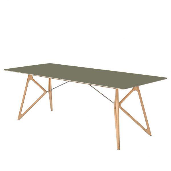 Esstisch Tink - Eiche massiv / Linoleum - Olivgrün / Eiche - 200 x 90 cm
