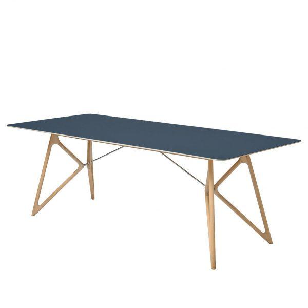Esstisch Tink - Eiche massiv / Linoleum - Petrol / Eiche - 200 x 90 cm