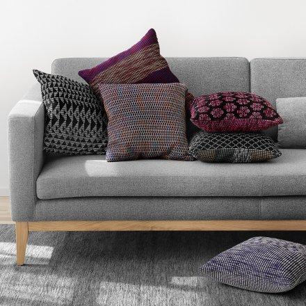 Kissen Melange Pixel violett Baumwolle