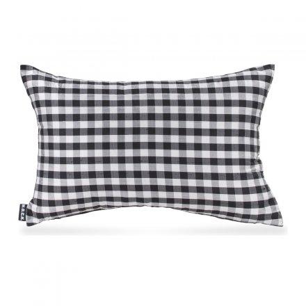 Kissen Pure Silk 50x30cm black white Karo klein schwarz-weiß Seide