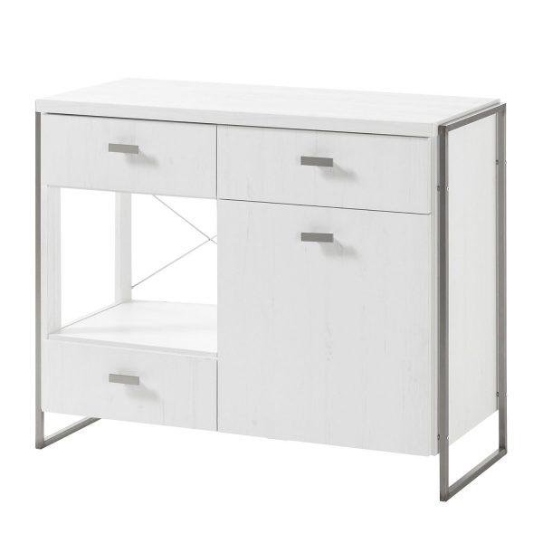 Kommode Pryor - Pinie Weiß Dekor / Silber