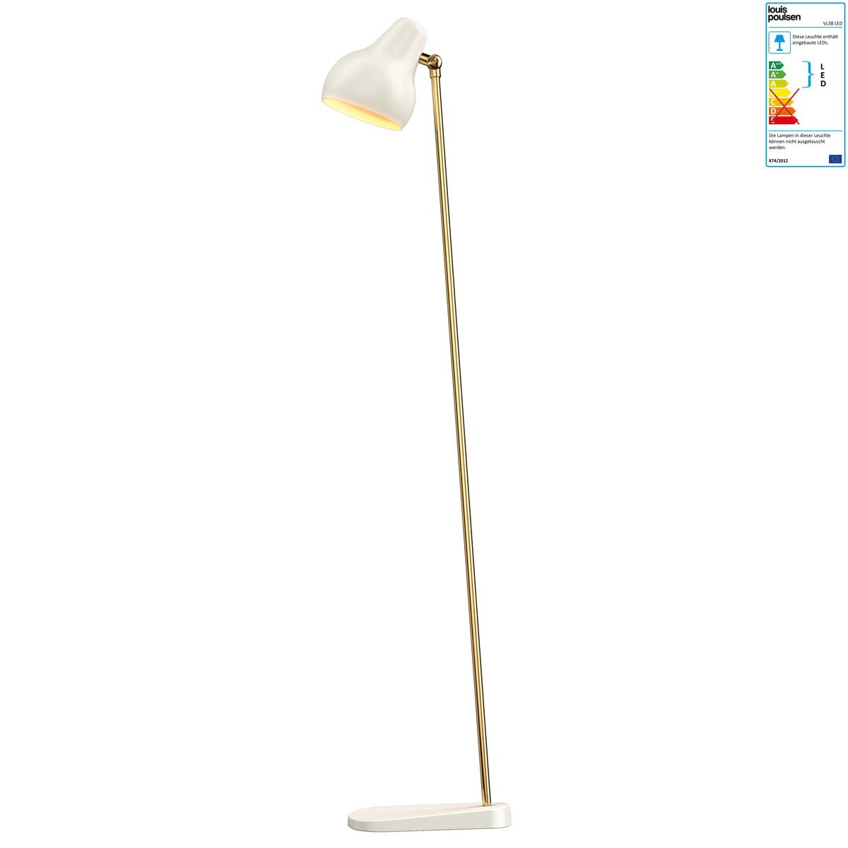 Louis Poulsen - VL38 LED Stehleuchte, weiß / Messing Weiß T:25 H:120 ...