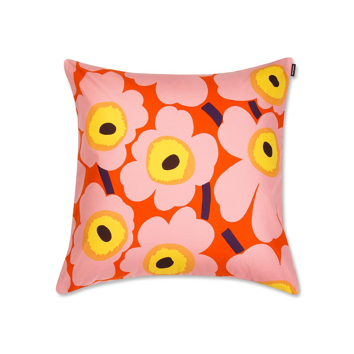 marimekko pieni unikko kissenbezug 50 x 50 cm orange rosa gelb fr hling 2018 mehrfarbig. Black Bedroom Furniture Sets. Home Design Ideas
