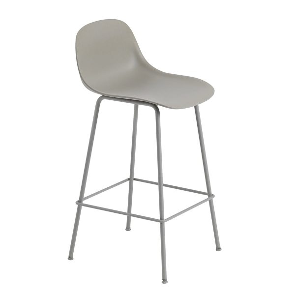 muuto fiber barhocker mit r ckenlehne metallgestell h 65 cm grau grau grau t 44 h 87 b 42. Black Bedroom Furniture Sets. Home Design Ideas