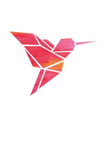 Origami Kolibri 3 Leinwandbild