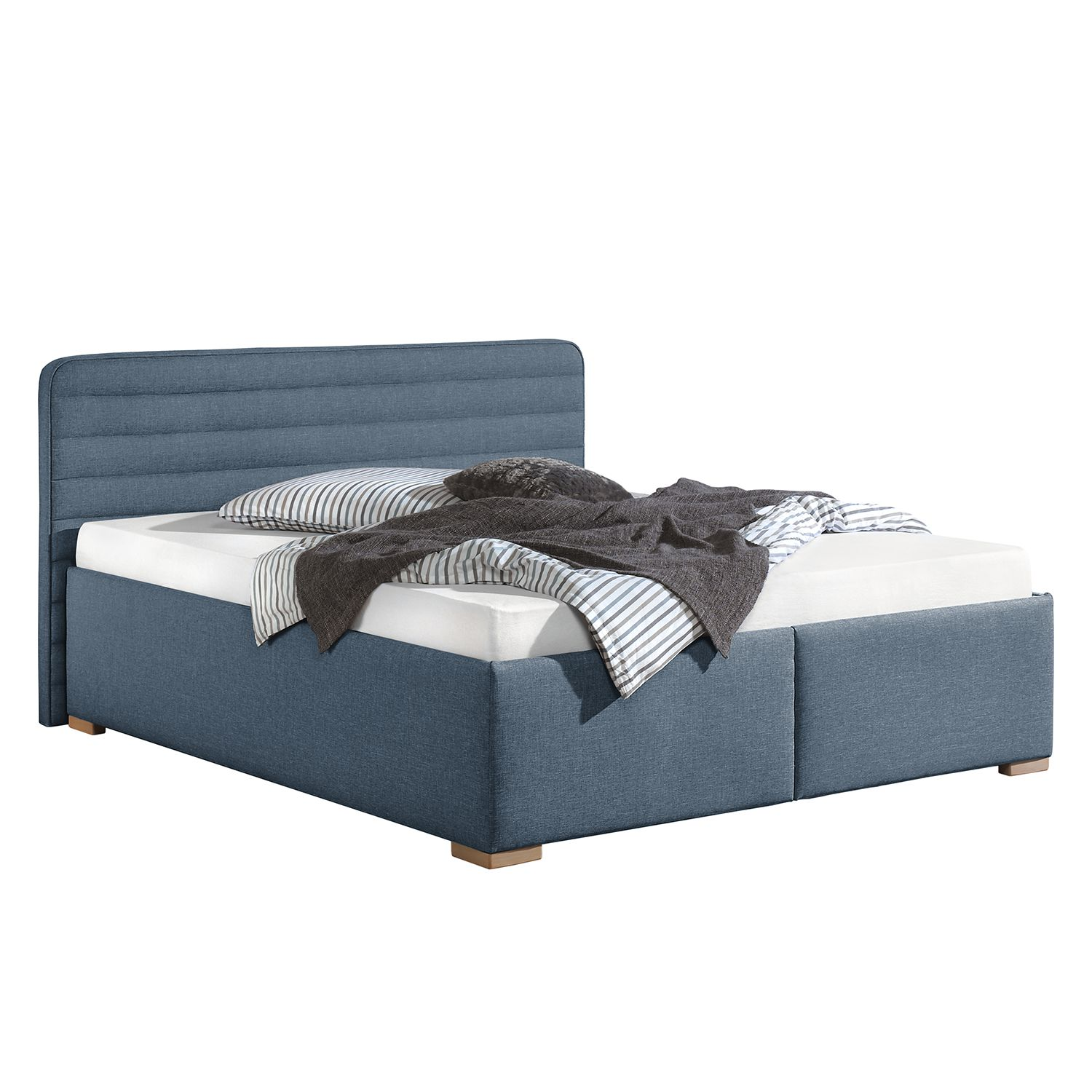 polsterbett vitaby strukturstoff 200 x 200cm bettgestell mit lattenrost jeansblau maison. Black Bedroom Furniture Sets. Home Design Ideas