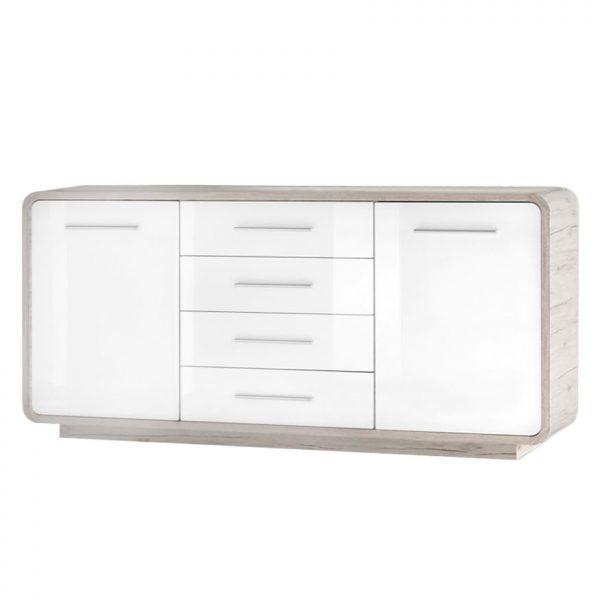 Sideboard Lerida - Hochglanz Weiß / Sandeiche Dekor
