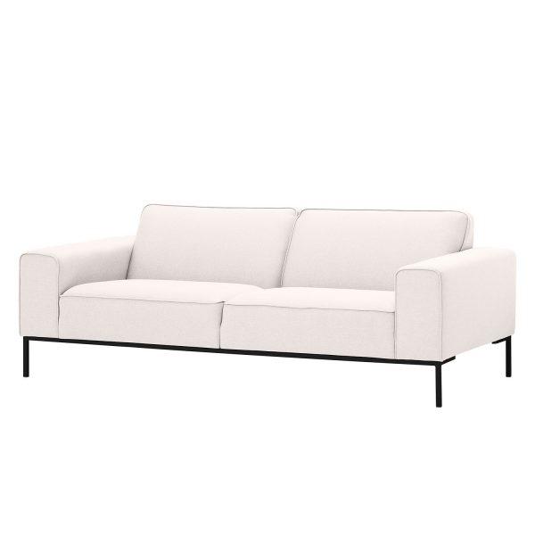 Sofa Ampio (3-Sitzer) Webstoff - Schwarz - Stoff Floreana Beige
