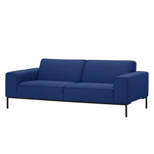 Sofa Ampio (3-Sitzer) Webstoff - Schwarz - Stoff Floreana Dunkelblau II
