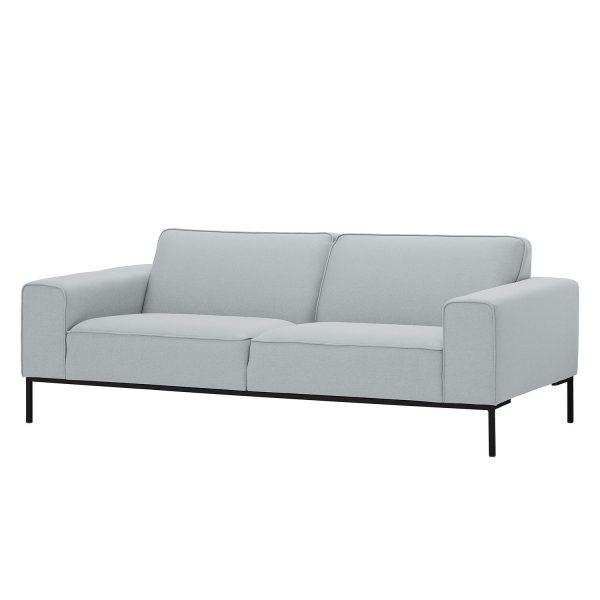 Sofa Ampio (3-Sitzer) Webstoff - Schwarz - Stoff Floreana Hellgrau