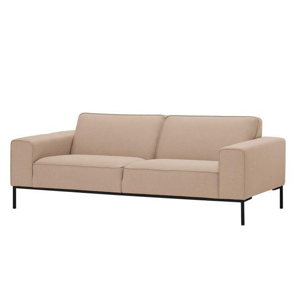 Sofa Ampio (3-Sitzer) Webstoff - Schwarz - Stoff Floreana Kamel