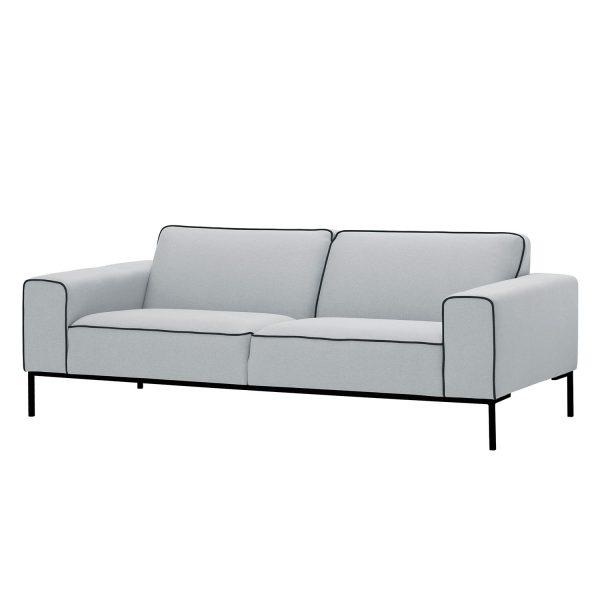 Sofa Ampio Duo (3-Sitzer) Webstoff - Schwarz - Stoff Floreana Hellgrau