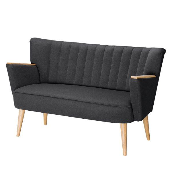 Sofa Bauro (2-Sitzer) Webstoff - Dunkelgrau