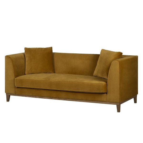 Sofa Blomma (3-Sitzer) Samt Senfgelb - Nussbaum
