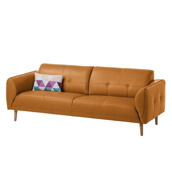Sofa Cala (3-Sitzer) Echtleder - Eiche Natur - Echtleder Neka Cognac