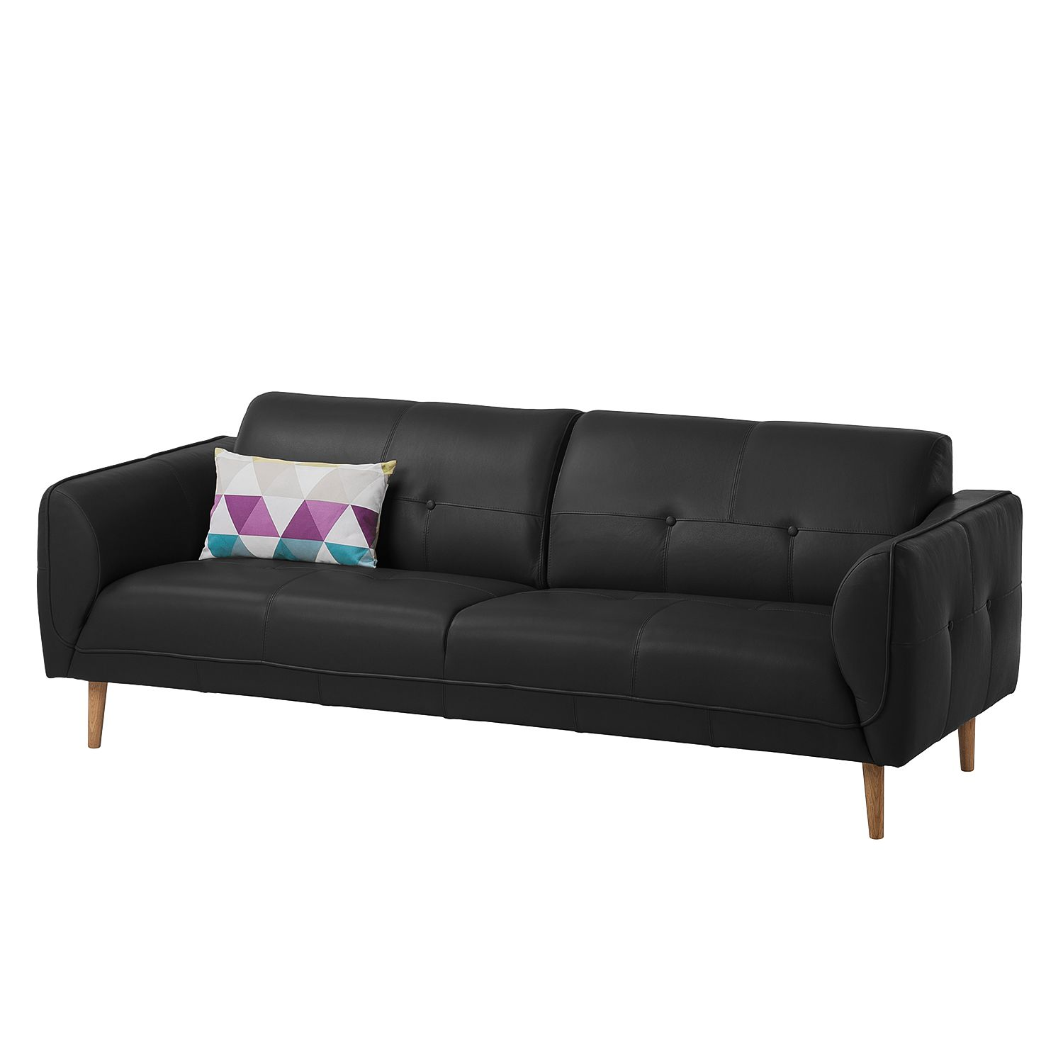 sofa cala 3 sitzer echtleder eiche natur echtleder neka schwarz studio copenhagen online. Black Bedroom Furniture Sets. Home Design Ideas