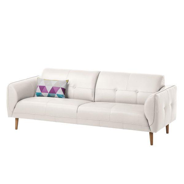 Sofa Cala (3-Sitzer) Echtleder - Eiche Natur - Echtleder Neka Weiß