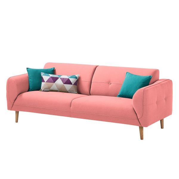 Sofa Cala (3-Sitzer) Webstoff - Eiche Natur - Stoff Osta Koralle