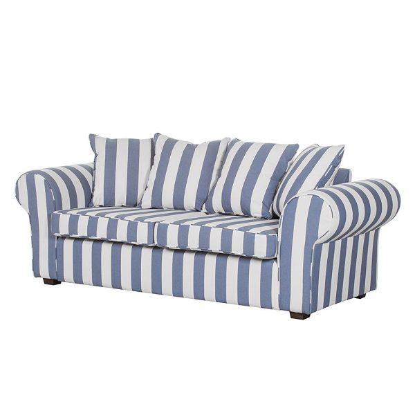 Sofa Colmar (3-Sitzer) - Webstoff Blau gestreift