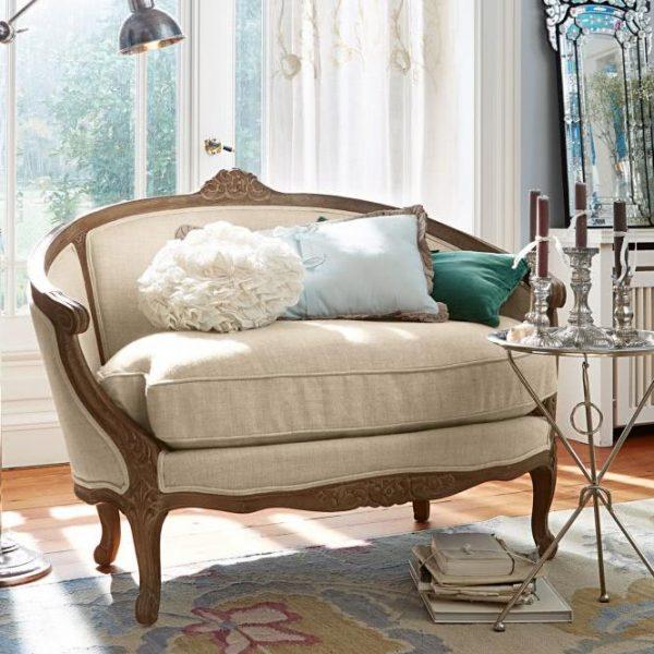 Sofa Dardilly leinen/antikbraun H/B/T ca. 95/130/75 cm