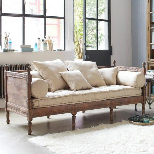 Sofa Douville graubraun/creme H/B/T ca. 85/200/80 cm
