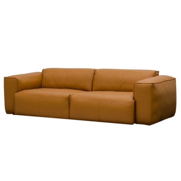 Sofa Hudson II (3-Sitzer) Echtleder - Echtleder Neka Cognac