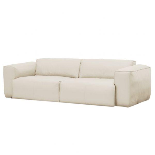 Sofa Hudson II (3-Sitzer) Echtleder - Echtleder Neka Creme