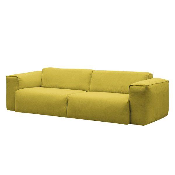Sofa Hudson II (3-Sitzer) Webstoff - Stoff Milan Gelb