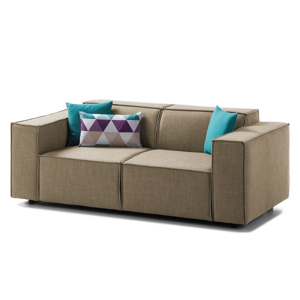 Sofa Kinx (2-Sitzer) Webstoff - Keine Funktion - Stoff Milan Grau-Braun